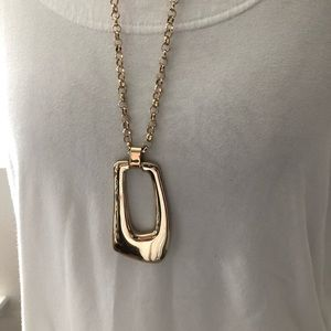 LYDELL NYC CHUNKY GOLD TONE RECTANGLE NECKLACE